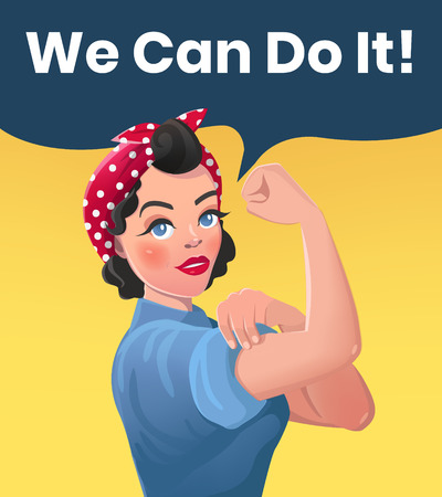We Can Do It Poster Illustration. Vector Style Sexy Strong Brunette Girl. Classical American Symbol of Female Power, Solidarity, Human Rights, Protest, Feminism, Riot.