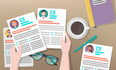 Recruitment or Headhunting Business Concept with Hands, Resumes, Pen, Coffee, Glasses as Symbols of Search for the Most Skillful and Talented Workers. Vector illustration for Social Media.