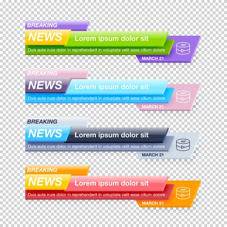 Set of Breaking News Title Templates on Transparent Background for TV Channel Screen or Video Blog. Realistic Vector Illustration for Media Project