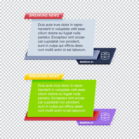 Set of Breaking News Text Templates on Transparent Background for TV Channel Screen or Video Blog. Realistic Vector Illustration for Media Project