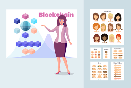 Stylish Business Woman Talking About Blockchain Technology. Presentation of a New Blockchain Project. Vector Illustration Girl Constructor in Cartoon Style