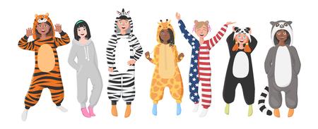 Kids' Plush One-Piece Pajamas. Hooded Zebra, Tiger, Panda, American Flag, Giraffe, Koala.  Boys and Girls in Pajamas, Nightwear, Loungewear. Stock Illustratie