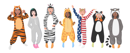 Kids' Plush One-Piece Pajamas. Hooded Zebra, Tiger, Panda, American Flag, Giraffe, Koala.  Boys and Girls in Pajamas, Nightwear, Loungewear. Vettoriali