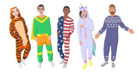 Men's Plush One-Piece Pajamas. Hooded  Tiger, Superhero, American Flag, Unicorn.  Boys in Pajamas, Nightwear, Loungewear. Standard-Bild - 106308083