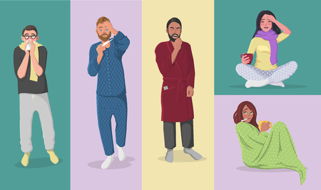 Set of People Having Cold, Flue, Fiver, Allergy, Hangover. Cartoon Style Vector Illustration