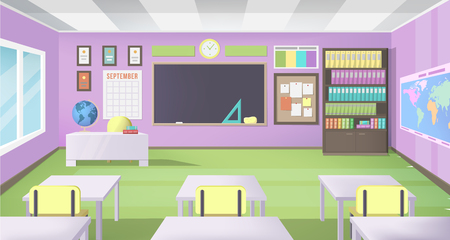 Empty School Class Room with Board Desk, Shelf, Books, Clock and Purple Walls. Modern Vector Illustration of School Interior.