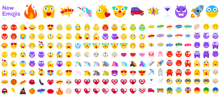 Big Set of New Modern Emojis. Emoticons Flat Vector Illustration Symbols. All World Emotions in Yellow, Red, and Violet Expressions. Hearts, Skulls, Vacation, Sale, New, Versus, Unicorns, Clowns Vector Illustration