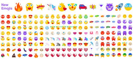 Duży zestaw nowych nowoczesnych emotikonów. Emotikony płaskie wektor ilustracja symboli. Wszystkie emocje świata w żółtych, czerwonych i fioletowych wyrażeniach. Serca, czaszki, wakacje, sprzedaż, nowy, kontra jednorożce, klauni Ilustracje wektorowe