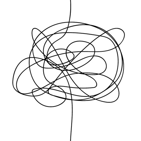 Griffonnage sans soudure abstrait. Griffonnage du chaos. Croquis De Griffonnage Dessiné à La Main. Illustration vectorielle isolée sur fond blanc Vecteurs