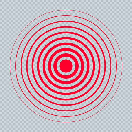 Pain Circle Red Icon. Medical Painkiller Drug Medicine Sign. Red Circle Waves Target Big Round Spot. Pill Medication Design Concept of Body. Muscular Joint Pain Template. Headache Analgetic Remedy