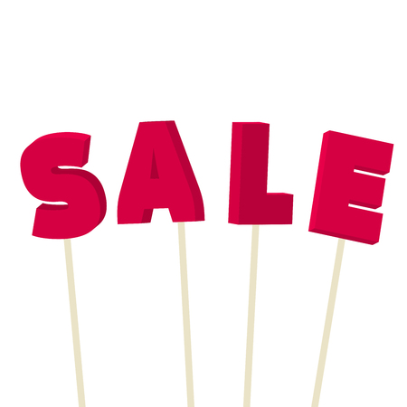 Sale Banner Template Design. Isometric Sale Letters on Sticks Composition. Special Offer or End of Season Discount Banner. Vector Illustration