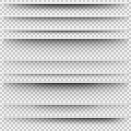 Vector Isolated Shadows. Transparent Shadows for Page Division. Set of Shadow with Different Transparency. Transparent Shadow Realistic Illustration Çizim