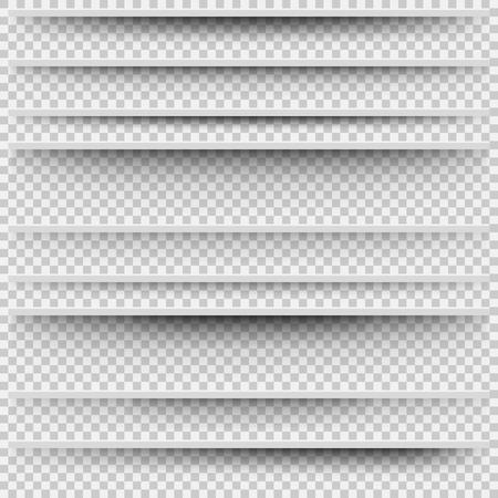 Vector sombras aisladas. Sombras transparentes para la división de páginas. Conjunto de sombra con diferente transparencia. Ilustración realista de sombra transparente Ilustración de vector