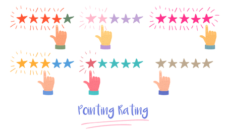 Vector Cartoon Illustration of Customer or Reader Review Concept. Rating Stars. Feedback, Reputation and Quality Concept. Hand Pointing, Finger Push for Rating. Bad and Good Rate, Feedback Experience  イラスト・ベクター素材