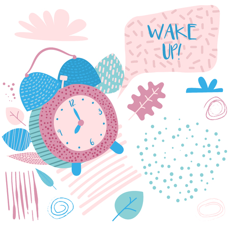 Wake up Banner. Alarm Clock in Hand Drawn Retro Comic Style. Cartoon Vector Illustration. Objects on Isolated Background in Childish Style  イラスト・ベクター素材