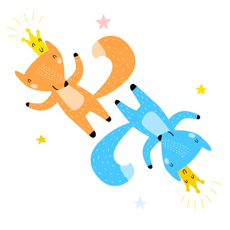 Hand Drawn Vector Illustration of Cute Funny Foxes Among Stars. Isolated Objects. Scandinavian Style Flat Design. Concept for Children Print, Website or App. Happy Red and Blue Foxes with Crowns.
