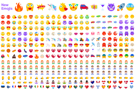 Big Set of New Modern Emojis. Emoticons Flat Vector Illustration Symbols. All World Emotions in Yellow, Red, and Violet Expressions. Hearts, Skulls, Vacation, Sale, New, Versus, Unicorns, Clowns