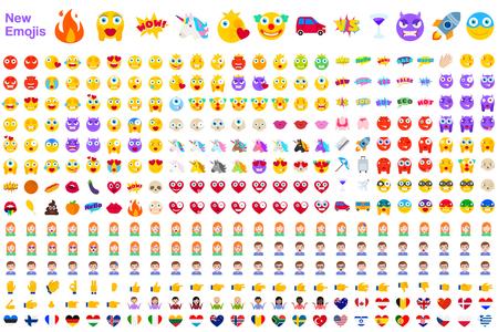 Grote reeks nieuwe moderne emoji's. Emoticons platte vector illustratie symbolen. Alle wereldemoties in gele, rode en violette uitdrukkingen. Harten, Schedels, Vakantie, Uitverkoop, Nieuw, Versus, Eenhoorns, Clowns