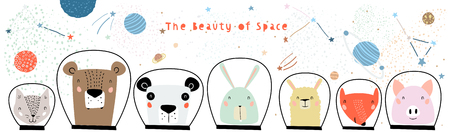 Hand Drawn Portraits of Cute Funny Animals in Space with Typography in Childish Style. Isolated objects on white background. Line drawing. Vector illustration. Design concept for children print. Illustration