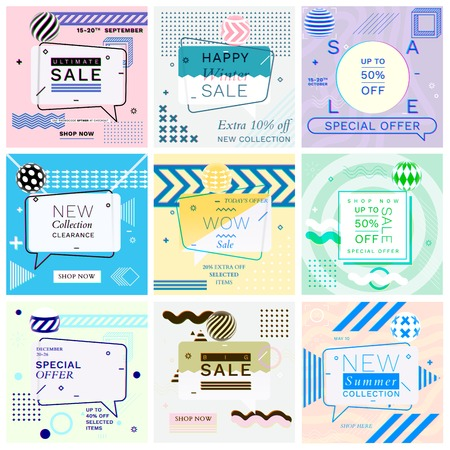 Modern Promotion Glitch Square Web Banners for Social Media Mobile Apps. Elegant Sale and Discount Promo Backgrounds with Abstract Pattern in Memphis Style. Email Ad Newsletter Layouts.