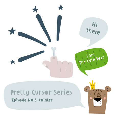 Series of Cute Funny Cursors or Pointers for Children's Graphics. A Pointer Hand Cursor for Games, Website, App with Bear Character. Interactive Pointer in a Comic Cute Trendy Style