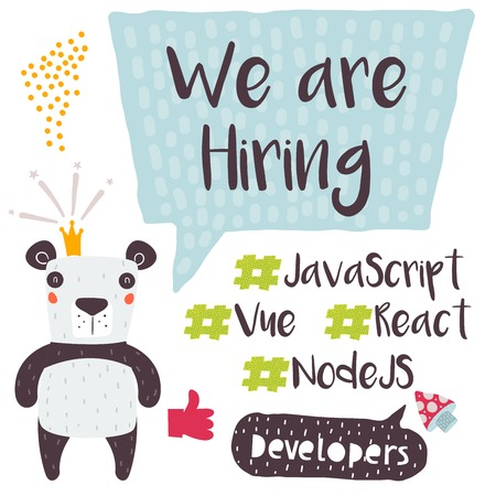 We are Hiring Design for Social Media Promotion. Suitable for Animation, Print, and Digital Usage. Catching Developers Design, Who are in High Demand. Vue, React, Node. Business Growth