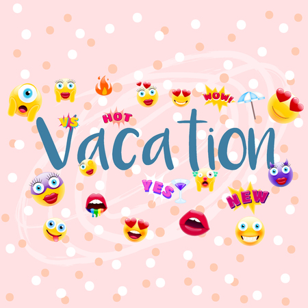 Vacation Poster or Postcard! Vacation time Design with Lots of Unique Emojis. Holidays Sign for Entities in a Trendy Style. Illustration