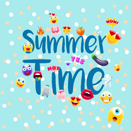 Summer time Poster or Postcard! Summer Design with Lots of Unique Emojis. Holidays Sign for Schools or Kindergartens in a Trendy Style.
