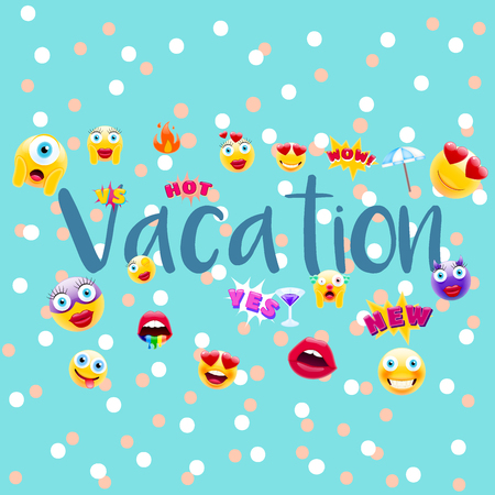Vacation Poster or Postcard! Vacation time Design with Lots of Unique Emojis. Holidays Sign for Entities in a Trendy Style. Ilustração