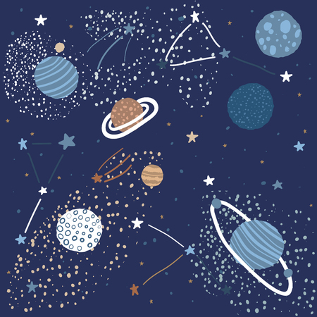 Childish Pattern with Space Elements Like Stars, Planets, and Constellations. Creative Abstract Nursery Background. Perfect for Kids Design, Fabric, Wrapping, Wallpaper, Textile, Apparel Illustration
