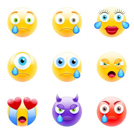 Set of Emoticons. Set of Emojis. Smile icons. Isolated vector illustration on white background