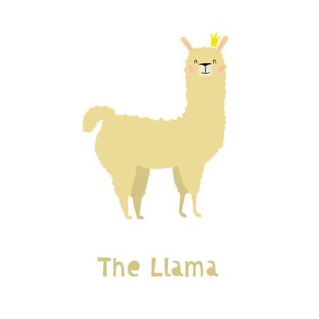 Llama Character Staying with Crown. An Animal in Cute Trendy Modern Cartoon Childish Style. Perfect for Print, Web, App or Any Digital Design Manipulation.