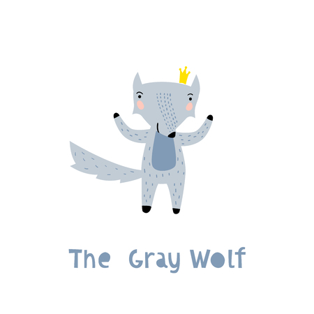 Wolf Character Staying with Crown. An Animal in Cute Trendy Modern Cartoon Childish Style. Perfect for Print, Web, App or Any Digital Design Manipulation. Иллюстрация
