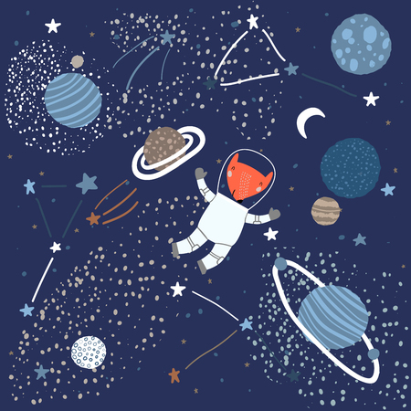 Childish Pattern with a Fox in Space Elements Like Stars, Planets, and Constellations. Creative Abstract Nursery Background. Perfect for Kids Design, Fabric, Wrapping, Wallpaper, Textile, Apparel Иллюстрация