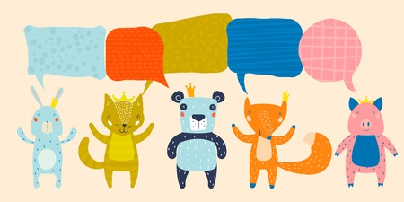 Animal Characters Having a Discussion About Event or Meeting. Business Discussion Social Network Illustrated with Animals. Projects, News, Media, Social Network, Chat, Dialogue, Speech Bubbles