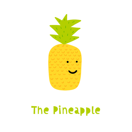 Pineapple Character in Trendy Childish Style Good for Print, Web or Any Digital Product. Funny Vector Illustration in Trendy Style