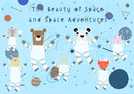 Hand Drawn Cute Funny Animals in Space with Typography in Childish Style. Isolated objects on white background. Line drawing. Vector illustration. Design concept for children print.