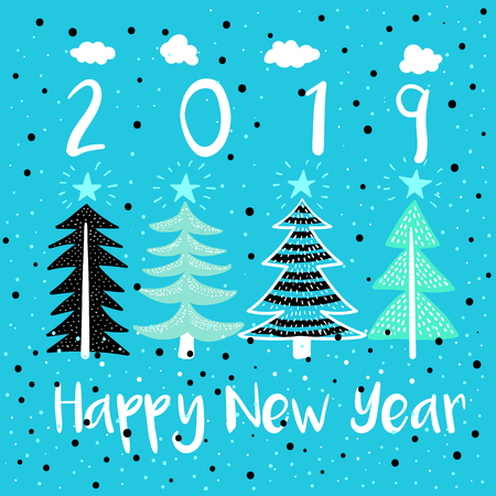 Happy New Year Vector Modern Illustration. Four Pine Trees with Stars and Snow Flakes Childish Picture in Cartoon Style. 2019 Year Greetings