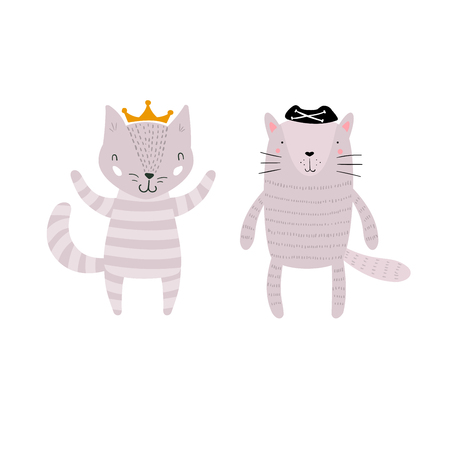 Two Cats Characters Staying Together in Crown and Pirate Hat. Two Animals in Cute Trendy Modern Cartoon Childish Style. Perfect for Print, Web, App or Any Digital Design Manipulation.