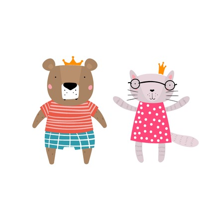 Bear and Cat Characters Staying Together in Crowns. Two Animals in Cute Trendy Modern Cartoon Childish Style. Perfect for Print, Web, App or Any Digital Design Manipulation.