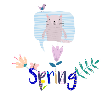 Hand Drawn Illustration of a Cute Little Cat in a Bubble, Falling Flowers, Quote Spring. Isolated objects on white background. Flat style design. Concept for change of seasons, kids print