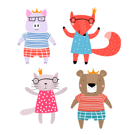 Pig, Fox, Bear and Cat Characters Staying Together in Crowns. Four Animals in Cute Trendy Modern Cartoon Childish Style. Perfect for Print, Web, App or Any Digital Design Manipulation. Иллюстрация
