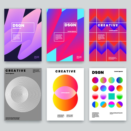 Modern Abstract Covers Set. Cool Gradient and Circle Shapes Composition. Futuristic Design. Trendy Design Layout