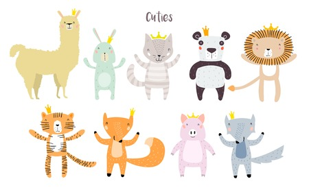 Personajes de llama, león, tigre, lobo, panda, gato, conejito, cerdo y zorro que permanecen juntos en coronas. Dos animales en lindo estilo infantil de dibujos animados modernos de moda. Perfecto para impresión, web, aplicación o cualquier diseño