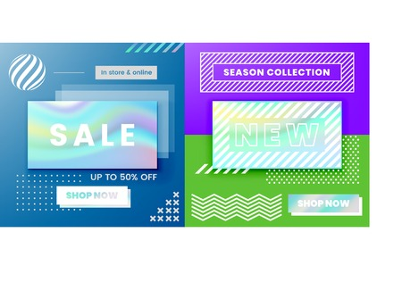 Vector Design for Sale Web Banners, Posters. Good for Social Media, Email, Print, Ads Design and Promotional Material with Holographic Foil Elements in a Memphis Style