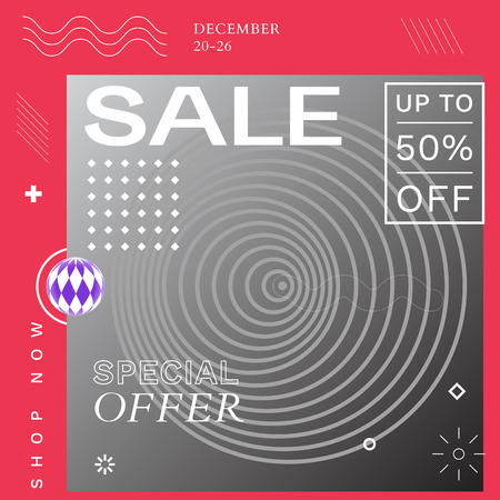 Modern Promotion Square Web Banner for Social Media Mobile Apps. Elegant Sale and Discount Promo Backgrounds with Abstract Pattern in de Stijl and Brutalism Style. Email Ad Newsletter Layout.