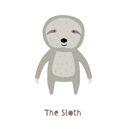Sloth Character. An Animal in Cute Trendy Modern Cartoon Childish Style. Perfect for Print, Web, App or Any Digital Design Manipulation. Stock Illustratie