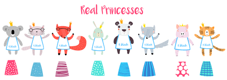 Real Princesses Animal Characters Constructor with Different Dresses. Animals in Cute Trendy Modern Cartoon Childish Style. Perfect for Print, Web, App or Any Digital Design Manipulation. Stock Illustratie