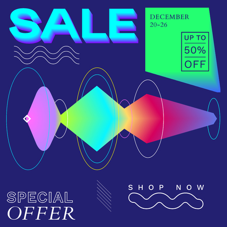 Modern Promotion Square Web Banner for Social Media Mobile Apps. Elegant Sale and Discount Promo Backgrounds with Abstract Pattern in de Stijl and Brutalism Style. Email Ad Newsletter Layout Stock Illustratie