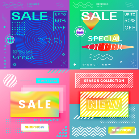 Modern Promotion Square Web Banners for Social Media Mobile Apps. Elegant Sale and Discount Promo Backgrounds with Abstract Pattern in de Stijl and Brutalism Style. Email Ad Newsletter Layout